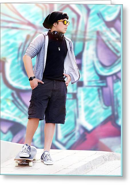 Person Greeting Cards - Stylish skater boy Greeting Card by Anna Omelchenko