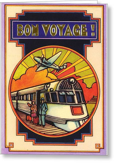 1970s Greeting Cards - Stylized Bon Voyage Vintage Poster Greeting Card by Gillham Studios