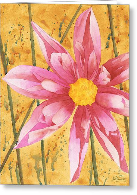 Dahlia Greeting Cards - Stylized Dahlia Greeting Card by Ken Powers
