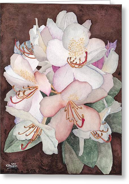 Rhodie Greeting Cards - Stylized Rhododendron Greeting Card by Ken Powers