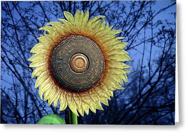 Artificial Flowers Greeting Cards - Stylized Sunflower Greeting Card by Tom Mc Nemar