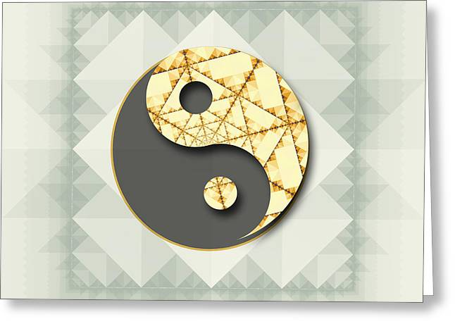 Ying Greeting Cards - Stylized Yin Yang symbol Greeting Card by Greg Brave