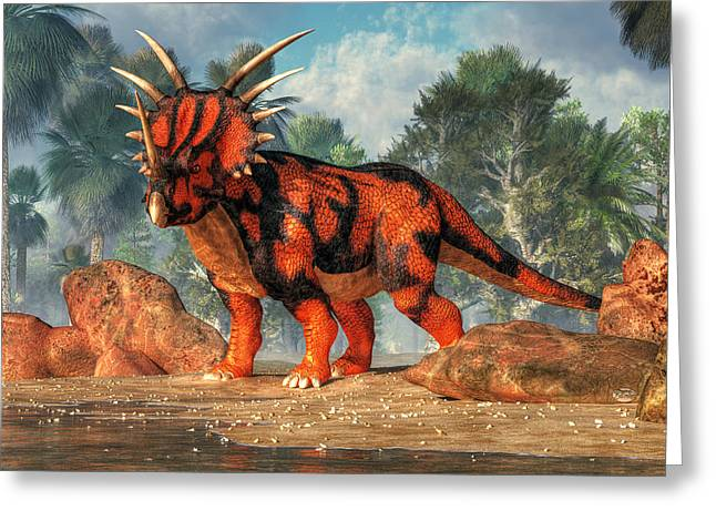 Jurassic Park Greeting Cards - Styracosaurus Greeting Card by Daniel Eskridge