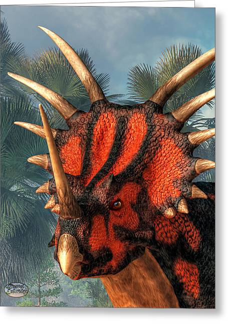 Triceratops Digital Art Greeting Cards - Styracosaurus Head Greeting Card by Daniel Eskridge