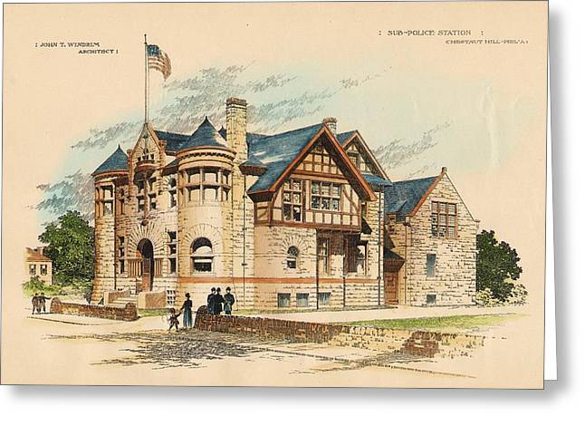 Police Officer Greeting Cards - Sub Police Station. Chestnut Hill PA. 1892 Greeting Card by John Windrim