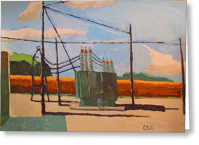 Rural Setting Greeting Cards - Sub station Duke Energy Greeting Card by Charlie Spear