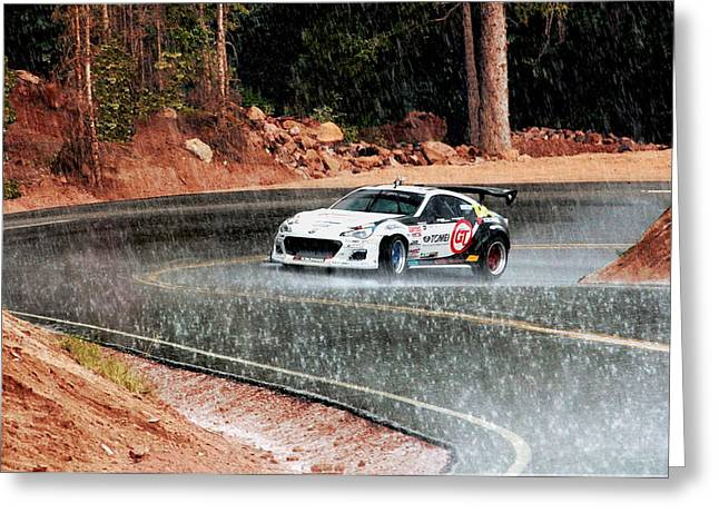 Subaru Rally Greeting Cards - Subaru BRZ Ascending Pikes Peak Greeting Card by Erin Hissong