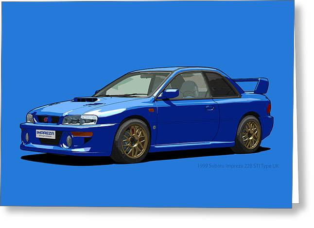 Subaru Impreza 22b Sti Type Uk Sonic Blue Greeting Card by DigitalCarArt