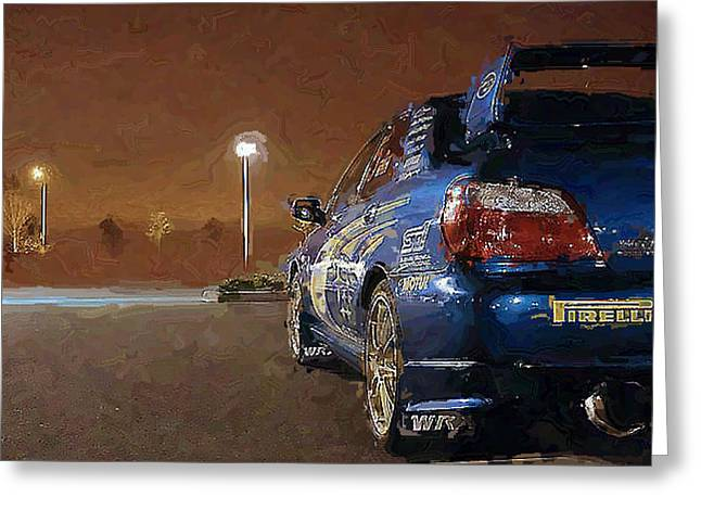 Subaru Impreza At Night Greeting Card by David Lambertino