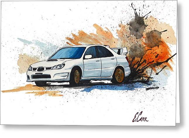 Blue Subaru Greeting Cards - Subaru STi Watercolor Painting Greeting Card by Erin Hissong