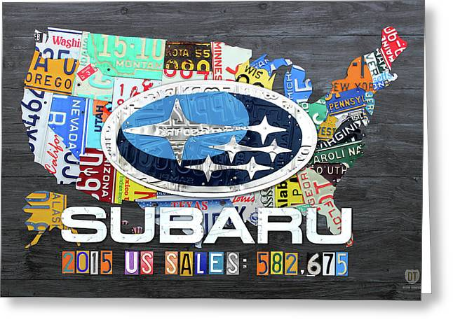 Subaru Usa Sales 2015 License Plate Map Art Greeting Card by Design Turnpike