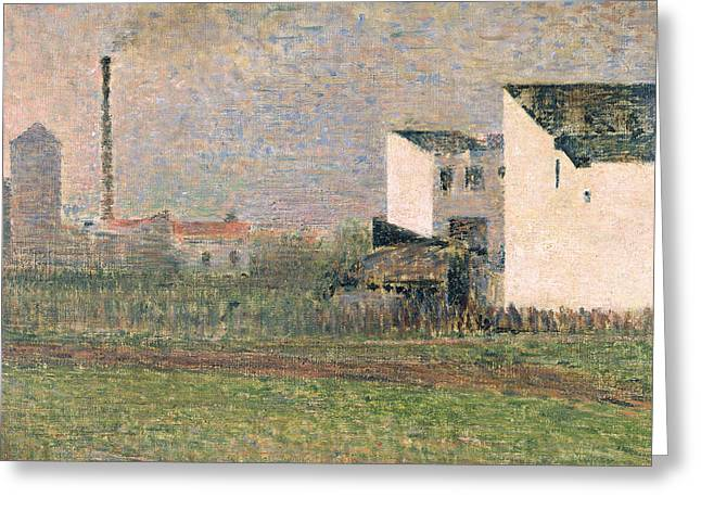 Seurat Greeting Cards - Suburb Greeting Card by Georges Pierre Seurat