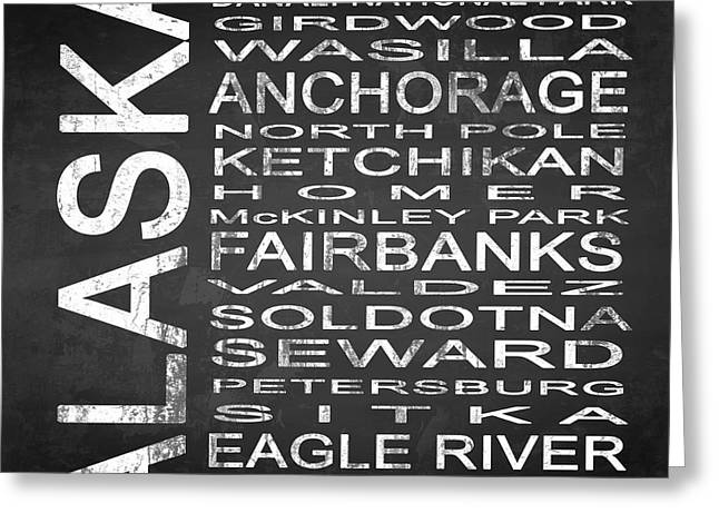 Subway Alaska State Square Greeting Card by Melissa Smith