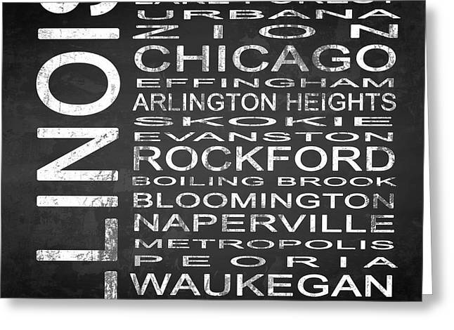Evanston Greeting Cards - SUBWAY Illinois State Square Greeting Card by Melissa Smith