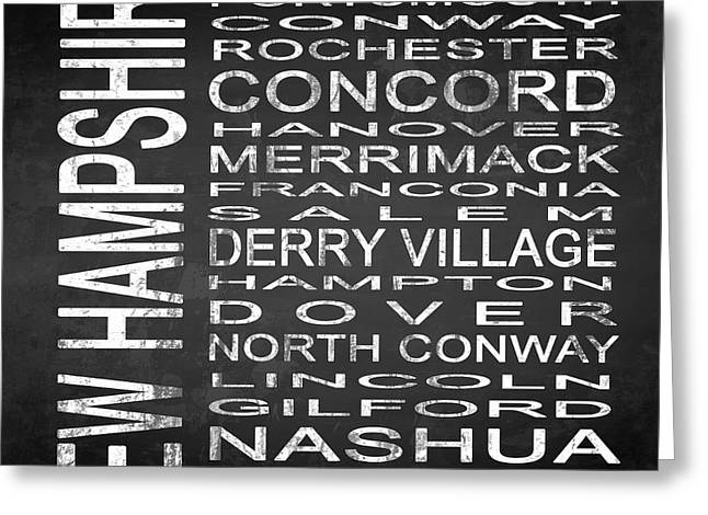 Concord Greeting Cards - SUBWAY New Hampshire State Square Greeting Card by Melissa Smith