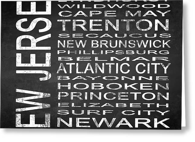 Surf City Greeting Cards - SUBWAY New Jersey State Square Greeting Card by Melissa Smith