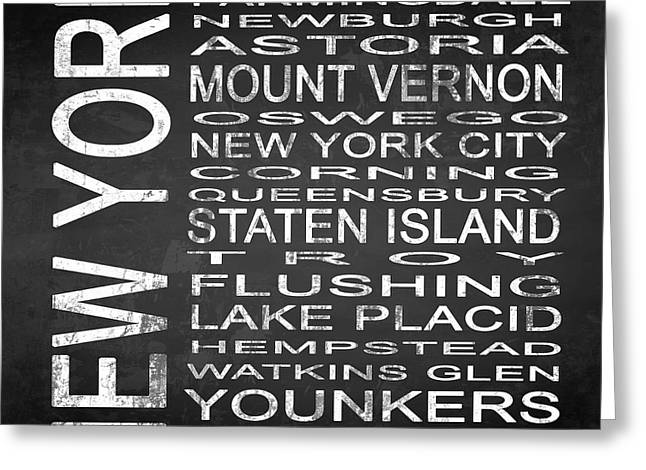 Vestal Greeting Cards - SUBWAY New York State 2 Square Greeting Card by Melissa Smith