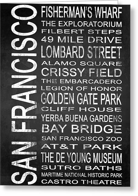 San Francisco Bay Mixed Media Greeting Cards - SUBWAY San Francisco 2 Greeting Card by Melissa Smith