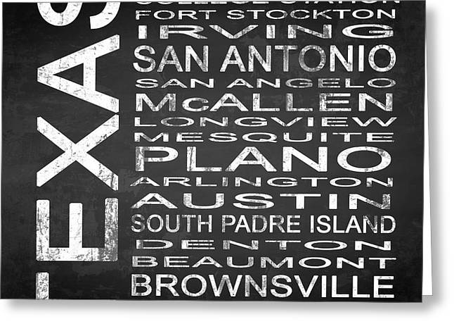 Stockton Mixed Media Greeting Cards - SUBWAY Texas State Square Greeting Card by Melissa Smith