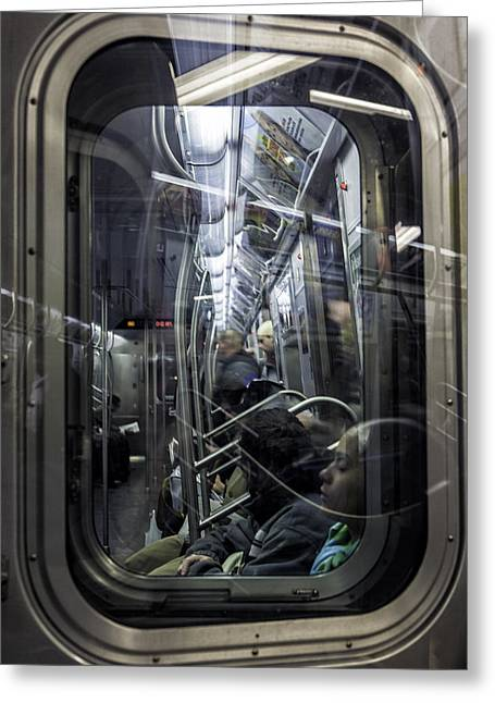 Straps Greeting Cards - Subway Train New York City 2007 Greeting Card by Kenneth Ortiz