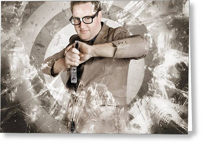Marketing Strategy Greeting Cards - Successful business person taking aim at target Greeting Card by Ryan Jorgensen