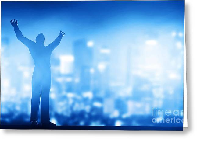 Satisfaction Greeting Cards - Successful businessman with hands up Greeting Card by Michal Bednarek