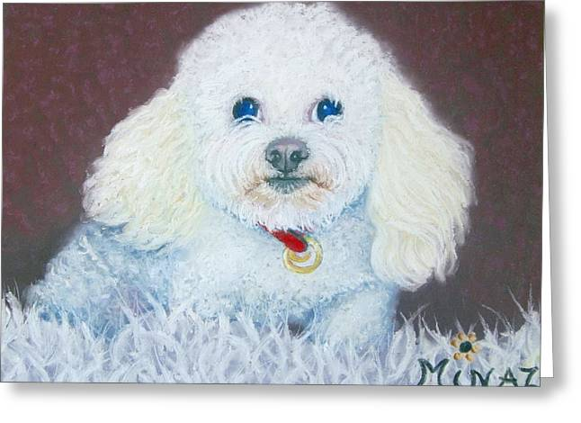 White Dogs Pastels Greeting Cards - Such A Charm Greeting Card by Minaz Jantz