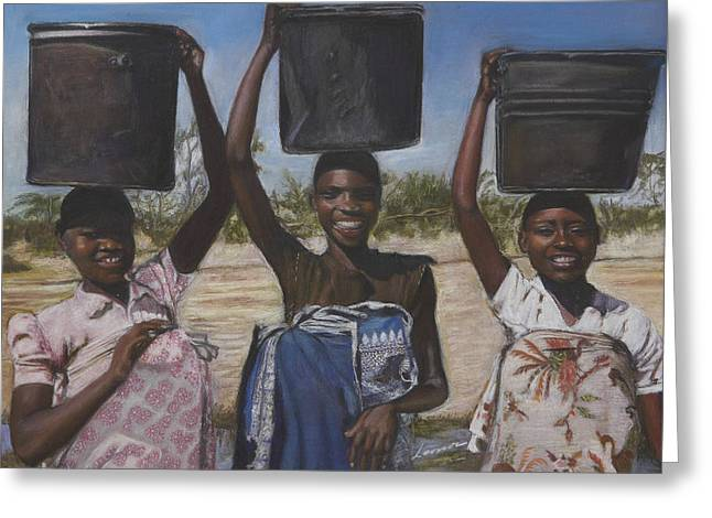 Sudanese Women Coming From The Borehole Greeting Card by Leonor Thornton