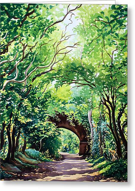 Green Foliage Paintings Greeting Cards - Sudbury Bridge and Trees Greeting Card by Christopher Ryland