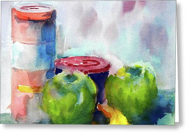 Apple Paintings Greeting Cards - Suddenly There Was A Banana Greeting Card by Virgil Carter