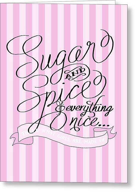 Spice Drawings Greeting Cards - Sugar and Spice Greeting Card by Priscilla Wolfe