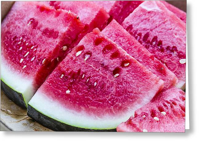 Watermelon Greeting Cards - Sugar Baby Watermelon Slices Greeting Card by Teri Virbickis