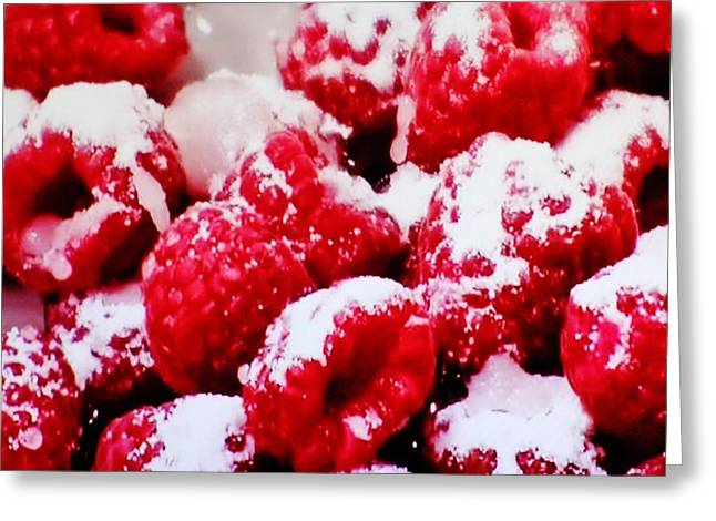 Organic Greeting Cards - Sugar Coated Raspberries Greeting Card by Cynthia Guinn