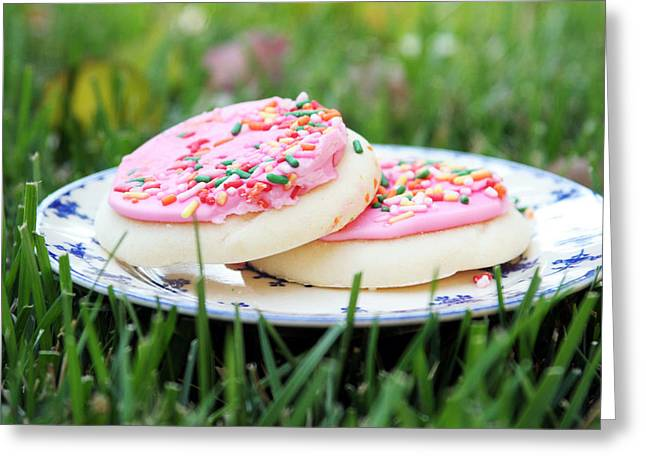 Snacking Greeting Cards - Sugar Cookies with Sprinkles Greeting Card by Linda Woods