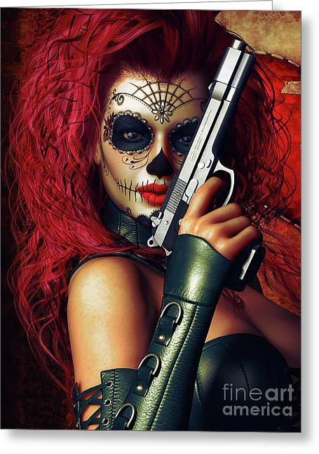 Broken Heart Greeting Cards - Sugar Doll Long Night of the Dead Greeting Card by Shanina Conway