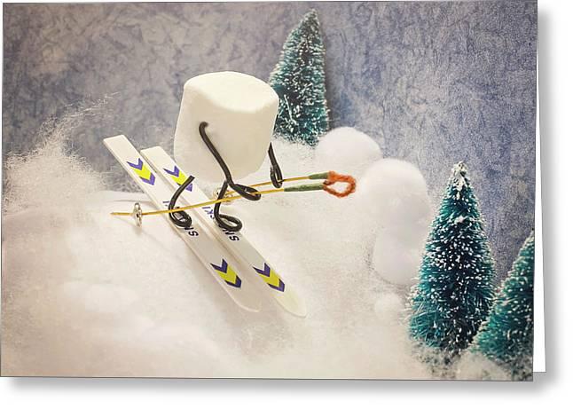Sugar Hill Skier Greeting Card by Heather Applegate