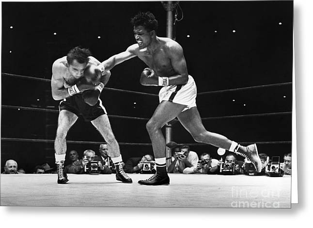 Glove Greeting Cards - Sugar Ray Robinson Greeting Card by Granger
