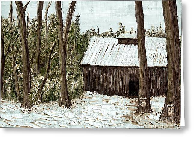Quebec Scenes Greeting Cards - Sugar Shack Greeting Card by Reb Frost