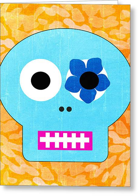Art For The Bedroom Greeting Cards - Sugar Skull Blue and Orange Greeting Card by Linda Woods