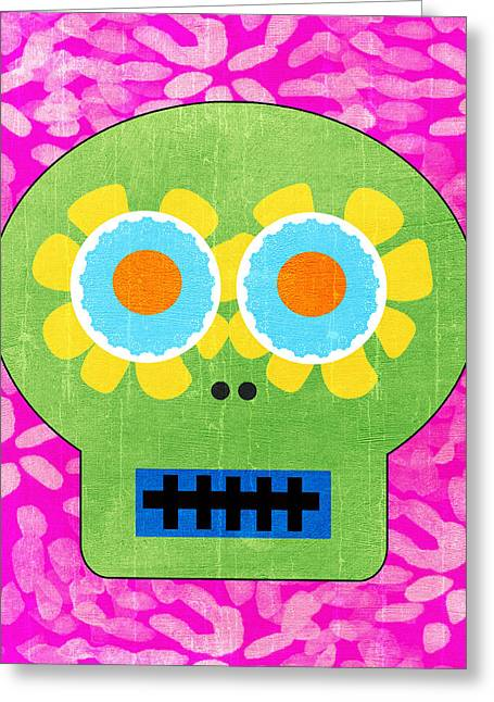 Book Cover Art Greeting Cards - Sugar Skull Green and Pink Greeting Card by Linda Woods