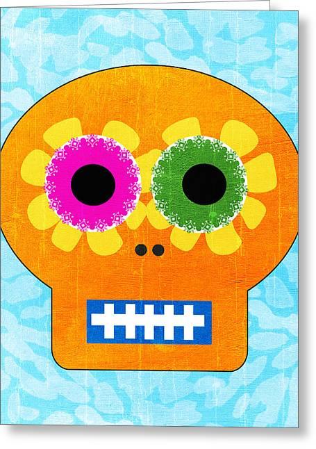Sugar Skull Orange And Blue Greeting Card by Linda Woods