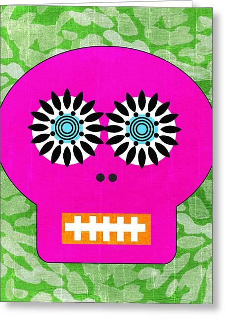 Sugar Skull Pink And Green Greeting Card by Linda Woods