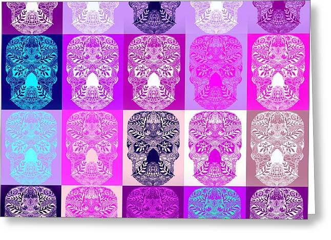 Cushion Paintings Greeting Cards - Sugar Skulls Greeting Card by Cathy Jacobs
