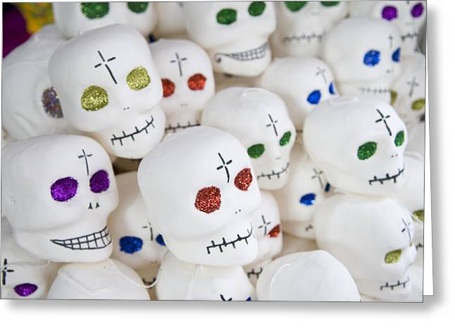Sugar Skulls For Sale At The Day Greeting Card by Krista Rossow