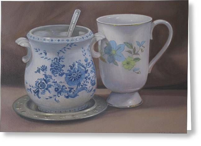 Kitchen Photos Paintings Greeting Cards - Sugarbowl and Teacup Greeting Card by Suzn Smith