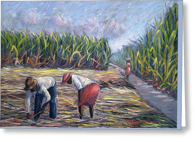 Harvest Art Greeting Cards - Sugarcane Harvest Greeting Card by Carlton Murrell