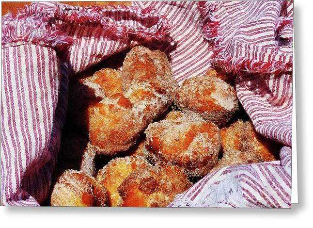 Donuts Greeting Cards - Sugared Donut Holes Greeting Card by Susan Savad