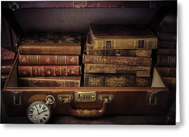 Knowledge Object Greeting Cards - Suitcase Full Of Books Greeting Card by Garry Gay