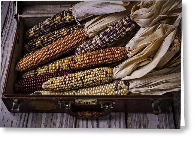 Ornamentation Greeting Cards - Suitcase Full Of Indian Corn Greeting Card by Garry Gay