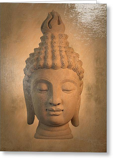 Print Sculptures Greeting Cards - Buddha - oil painting  Greeting Card by Terrell Kaucher